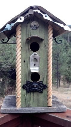 Train Station inspired BIRDHOUSE with Recycled Barnwood & Vintage Architectural Salvage by FilthyRichDesigns