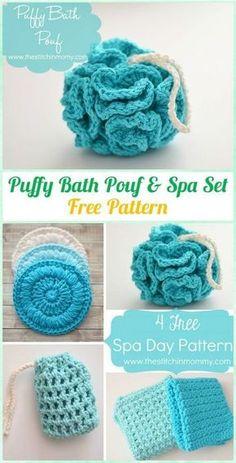 Crochet Puffy Bath Pouf & Spa Set Free Pattern - Crochet Spa Gift Ideas Free Patterns #CrochetPatterns Crochet Diy, Blog Crochet, Crochet Ideas To Sell, Crochet Tops, Cotton Crochet, Crochet Craft Fair, Crochet Gratis, Crochet Pillow, Crochet Stitch