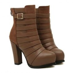$19.10 Elegant Women's Short Boots With Solid Color Buckle and Splice Design