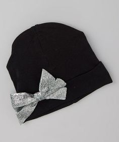 Take a look at this Black & Silver Glitter Bow Beanie by Voila Fancies on #zulily today!