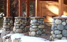 build a river rock column around steel - Google Search