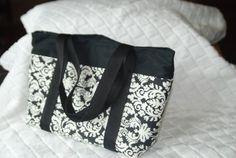 Black and White Tote Bag Purse by BeeBlessed on Etsy, $18.00