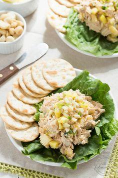 Hawaiian Chicken Salad with greek yogurt, pineapple and macadamia nuts!