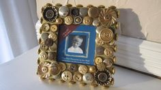 Handmade vintage button frame - antique and vintage crystal and gold metal buttons adorn all around, $15.00