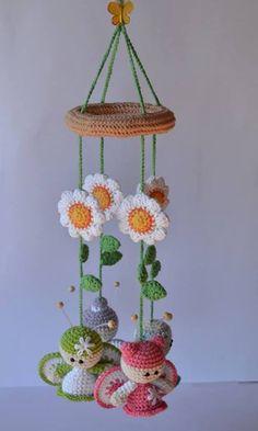 Mesmerizing Crochet an Amigurumi Rabbit Ideas. Lovely Crochet an Amigurumi Rabbit Ideas. Crochet Baby Mobiles, Crochet Mobile, Crochet Baby Toys, Crochet Diy, Crochet Amigurumi, Crochet Home, Amigurumi Patterns, Crochet For Kids, Crochet Crafts