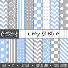 Grey and Blue Digital Paper, Chevrons, Polka Dots, Stripes, Instant Download, Commercial Use, Scrapbooking Paper Pack, Background Digital  ► More grey