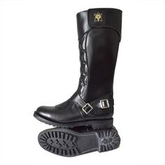 Goldtop Trophy Boots - Tall Quilted 1970s Police & Cavalry Style Motorcycle Boots with AERO zip - Made in England