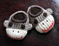 Wool Sock Monkey Slippers.