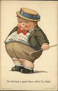 "A S Twelvetrees FAT BOY NO 136 ""Having A Good Time While I'M Little"" C1910 PC 
