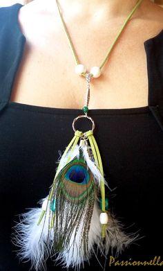 Pendentif plumes paon naturelles, collier pendentif plume, bijoux hippie, collier bohème, pendentif ethnique, indien