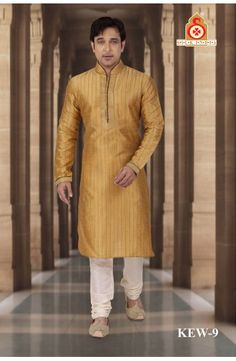 Dark Beige Dupion Kitcha Kurta with Pyjama. KEW-9