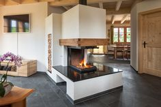 Home Fireplace, Modern Fireplace, Fireplace Design, Fireplaces, Pellet Stove, Restaurant Design, Bungalow, Sweet Home, Houses