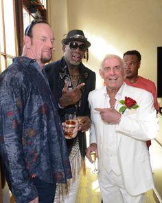 PsBattle: The Undertaker holding two Whiskeys standing next to Dennis Rodman and Ric Flair Wrestling Stars, Wrestling Wwe, Harley Davidson, Wrestlemania 29, Undertaker Wwe, Dennis Rodman, Ric Flair, Wrestling Superstars, Dolph Ziggler
