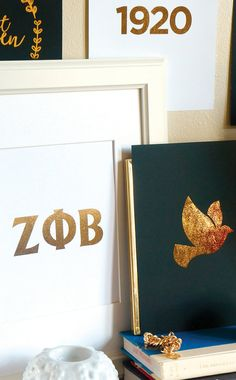 Zeta Phi Beta Gold Foil Art Prints by Pink Grey NYC on Etsy Doves, 1920, Zetas