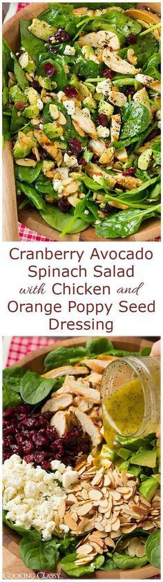 "Cranberry Avocado Spinach Salad with Chicken and Orange Poppy Seed Dressing ""- this flavorful salad is one of my new favorites! LOVED it!!"" Dressing: ""1/4 cup olive oil 1/4 cup canola oil 2 tsp orange zest 1/4 cup fresh orange juice 2 Tbsp fresh lemon juice 2 Tbsp honey 2 tsp dijon mustard 1/4 tsp salt 1 Tbsp poppy seeds Salad: 1 lb chicken, grilled 9 oz baby spinach 2 medium avocados, cored and diced 1 cup crumbled feta 3/4 cup sliced almonds, toasted 3/4 cup dried cranberrie"