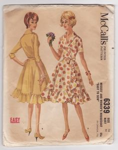 McCall's 6339 Ladies 1960's House Dress Vintage Sewing Pattern Bust 34 by Mrsdepew on etsy