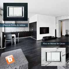 Entre las elegantes opciones de la línea #Axolute de Bticino destacan la Pizarra de Ardesia y el Mármol de Carrara.
