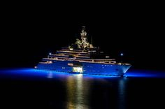 """Eclipse"" super-yacht at night, Barbaros Bay. Eclipse is today's largest yacht owned by a Russian billionaire Roman Abramovich"
