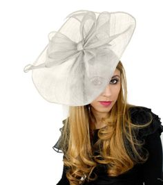 Commodore White Fascinator Hat for Weddings, Races, and Special Events With Headband