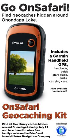 Start Geocaching with our OnSafari geocaching kit! Complete with handheld gps! Libraries are not just for books anymore!  www.lpl.org