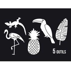 Lot de 5 matrices pour découper un ananas, une feuille exotique, un toucan, un lézard et un flamand rose. Ces motifs seront parfaits pour vos ...