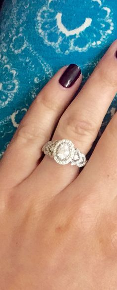 Obsessed with ring! Vera wang oval engagement ring with blue sapphires