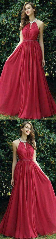 Simple Halter Burgundy A-Line Chiffon Long Prom Dress by DRESS, $153.00 USD#promdress#graduationdress#eveningdress#dress#dresses#gowns#partydress#longpromdress