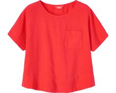 washed linen tee in vermilion red