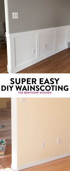 DIY Wainscoting renovation. I didn't think installing wainscotting would be so easy. Here is some inspiration, a how to, and my secret to getting started. Wainscoting paint color is Benjamin Moore Cloud White. Walls are both Revere Pewter and Classic Grey. via @RandaDerkson