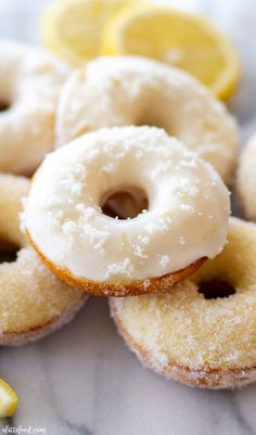 These Baked Donuts are a lemon donut recipe rolled in lemon sugar or topped with a lemon icing. Lemon Baked Donuts are one of my favorites from A Latte Food! Best Donut Recipe, Baked Donut Recipes, Baked Doughnuts, Buttermilk Recipes, Homemade Buttermilk, Homemade Donuts, Citrus Recipes, Fun Easy Recipes, Sweet Recipes