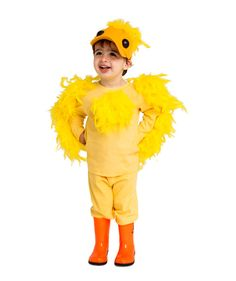 Yellow Duckling is just too cute! Fake feathers, yellow track suit and hat, orange rubber boots and you have a little duckling.