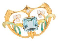 Krementz Art Nouveau Aquamarine Brooch