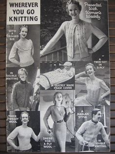 Original 1950s Woman's Weekly Wherever You Go Knitting Pattern Booklet 3ply 4ply in Crafts, Crocheting & Knitting, Vintage Patterns | eBay