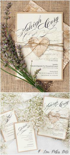 Romantic Rustic Lace Wedding Invitations with birch bark heart #rustic #romantic #eco #kraft #wedding #handmade