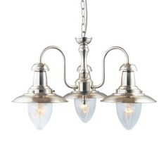 Fisherman - 3 Light Ceiling Satin Silver With Seeded Glass Shades Ceiling Pendant, Pendant Lighting, Ceiling Lights, Country Kitchen Lighting, Suspension Metal, Victorian Living Room, Discount Lighting, Shop Lighting, Light Fittings
