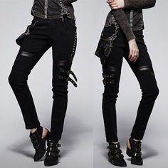 Women Black Studded Cyber Punk Rock Pencil Pants w/ Waist Bag SKU-11404367