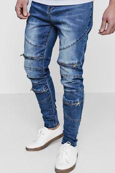 Ripped Jeans Men, Skinny Fit Jeans, Denim Display, Biker Pants, Destroyed Jeans, Mens Clothing Styles, Denim Fashion, Panelling, Boohoo