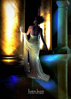 Ivory Jersey Goddess Gown designed in the Madame Gres technique by Lloyd Klein for Lloyd Klein Couture