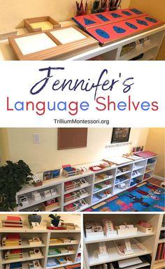 A tour of Jennifer's Montessori language shelves and materials Montessori Classroom Layout, Montessori Trays, Montessori Kindergarten, Montessori Homeschool, Montessori Elementary, Montessori Toddler, Montessori Materials, Montessori Activities, Preschool Math