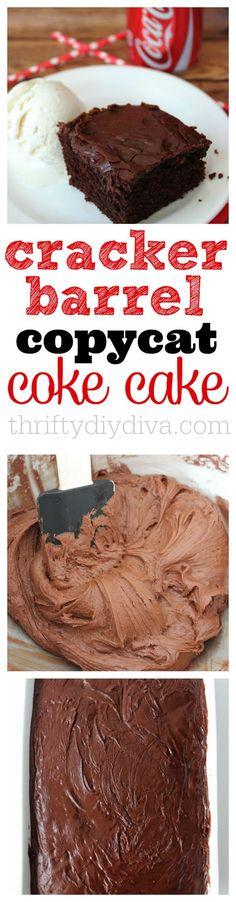 Copycat Cracker Barrel Double Fudge Coca-Cola Cake Recipe - my favorite restaurant copy cat recipes ever!