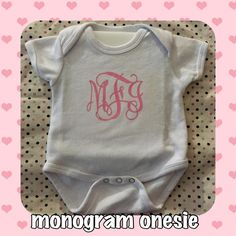 Monogrammed Onesie with Swirl Monogram Order Yours Today! Facebook.com/TheUglyDucklingStudios