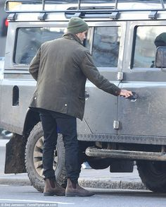 He's got the clothes, dog, and now the car, all he needs is the stately mansion! David Beckham continues his transformation to country gent as he shows off Land Rover | Daily Mail Online