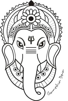Ganesha face only Ganesha Drawing, Lord Ganesha Paintings, Mandala Art Lesson, Mandala Drawing, Art Drawings Sketches Simple, Art Drawings For Kids, Arte Ganesha, Stencil, Art Painting Gallery