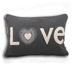 Love Hearts 50x35cm Cushion, Grey