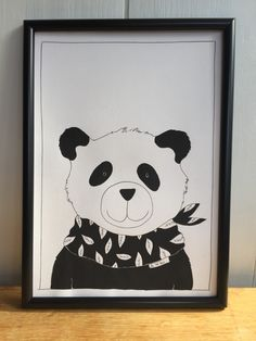 Excited to share the latest addition to my #etsy shop: Panda Monochrome Print nursery decor, kids room art, panda art, A4 art, black and white print