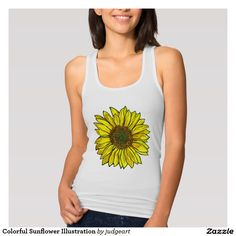 Colorful Sunflower Illustration T-shirts. #tanktops #tshirts #shirtsforher #sunflowers #forher #flowers #flowertshirts