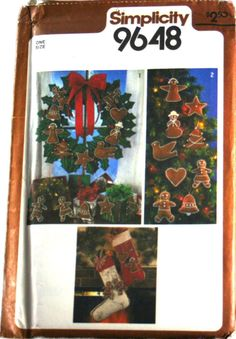 Simplicity Sewing Pattern Christmas Ornaments, Wreath and Stockings Transfer Pattern 9648  Vintage
