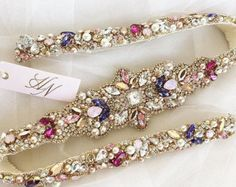 Rose Gold Crystal Bridal Belt SWAROVSKI Rhinestone Sequin