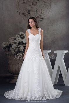 A-line Straps Court Train Sleeveless Lace Wedding Dress - $198.99