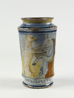 Albarello (drug jar), made in Castelli, Abruzzo region or The Marches, ca. 1540